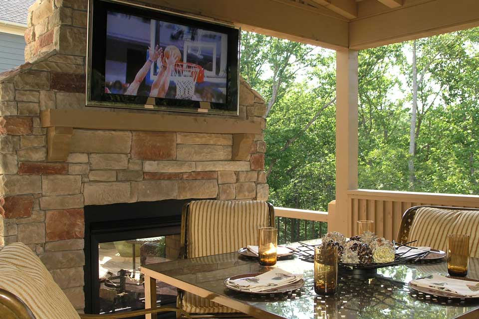 Outdoor TV on Brick